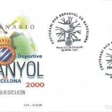 Sellos: 2000. PRIMER DIA/F.D.C. CENTENARIO R.C.D. ESPANYOL. FÚTBOL/FOOTBALL. DEPORTES/SPORTS.. Lote 147554710