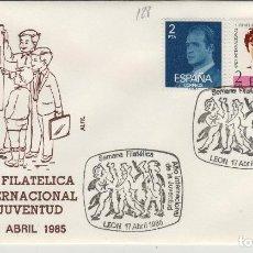 Sellos: 1985 LEON - SEMANA FILT AÑO INT DE LA JUVENTUD - SOBRE ALFIL . Lote 147579994