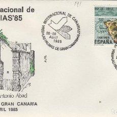 Sellos: 1985 LAS PALMAS ( CANARIAS ) - FERIA INT DE CANARIAS , ERMITA DE SAN ANTONIO DE ABAD - SOBRE ALFIL . Lote 147580502