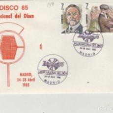 Sellos: 1985 MADRID - IBERDISCO'85 . SALON NACIONAL DEL DISCO - SOBRE ALFIL . Lote 147580938