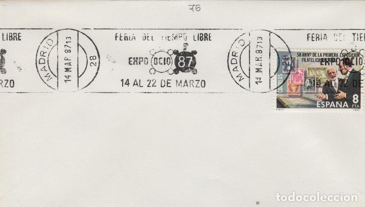 1987 - MADRID , FERIA TIEMPO LIBRE EXPO OCIO 87 - SOBRE CON MATASELLOS DE RODILLO (Sellos - Historia Postal - Sello Español - Sobres Primer Día y Matasellos Especiales)
