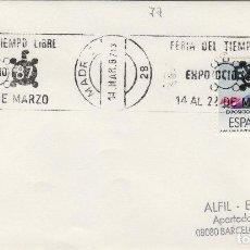 Sellos: 1987 - MADRID , FERIA TIEMPO LIBRE EXPO OCIO 87 - SOBRE CON MATASELLOS DE RODILLO. Lote 148072902
