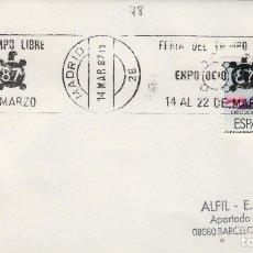 Sellos: 1987 - MADRID , FERIA TIEMPO LIBRE EXPO OCIO 87 - SOBRE CON MATASELLOS DE RODILLO. Lote 148072930