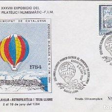 Sellos: GLOBOS 200 ANYS ELEVACIO PRIMER GLOBUS AL PRINCIPAT DE CATALUNYA, BARCELONA 1984. RARO MATASELLOS EN. Lote 148166742