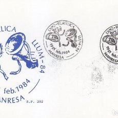 Sellos: LLUM 84 EXPO-FILATELICA FIESTA DE LA LUZ, MANRESA (BARCELONA) 1984. MATASELLOS EN TARJETA DE SP RARO. Lote 148169538