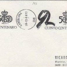 Sellos: 1988 BARCELONA QUINTO CENTENARIO DESCUBRIMIENTO - SOBRE MATASELLOS DE RODILLO. Lote 148207322