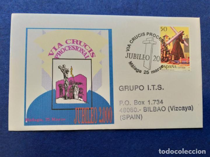 SOBRE VIA CRUCIS PROCESIONAL. MALAGA, ANDALUCIA, 2000. SELLOS Y MATASELLOS. (Sellos - Historia Postal - Sello Español - Sobres Primer Día y Matasellos Especiales)