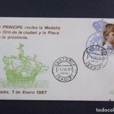 Sellos: EL PRINCIPE FELIPE RECIBE MEDALLA ORO CIUDAD DE CADIZ , MATASELLOS CADIZ EN SOBRE FILOSSA ..A1328. Lote 150662970