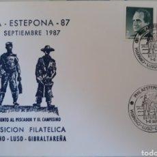 Sellos - Sobre monumento al pescador y el campesino Estepona Malaga 1987 - 151083748