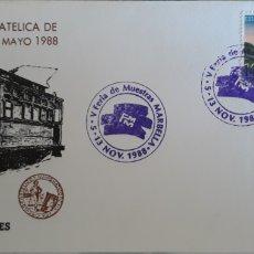 Sellos: SOBRE MEDIOS DE TRANSPORTE Y COMUNICACIONES MALAGA 1988. Lote 151093688