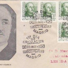 Sellos: GENERAL FRANCO 1948 (EDIFIL 1021 SEIS SELLOS) EN RARO SPD CIRCULADO NUMERO 1 DEL SERVICIO FILATELICO. Lote 151255910