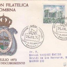 Sellos: COLON REGATA DESCUBRIMIENTO EXPOSICION COLOMBINA, BAYONA (PONTEVEDRA) 1972 MATASELLOS EN SOBRE ALFIL. Lote 151520298