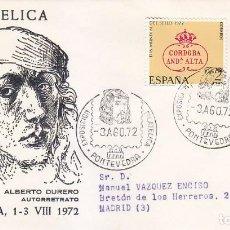 Sellos: PINTURA ALBERTO DURERO VIII EXPOSICION, PONTEVEDRA 1972. RARO MATASELLOS EN SOBRE CIRCULADO DE ALFIL. Lote 151520562