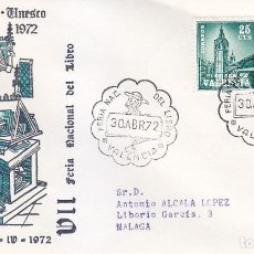 Sellos: DON QUIJOTE CERVANTES VII FERIA NACIONAL DEL LIBRO, VALENCIA 1972. RARO MATASELLOS EN SOBRE ALFIL.. Lote 151524010