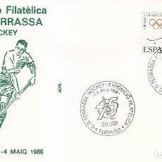 Sellos: DEPORTES HOCKEY CD TERRASSA EXPOSICION, TARRASA (BARCELONA) 1986. RARO MATASELLOS EN SOBRE DE ALFIL.. Lote 151982942