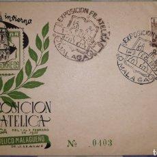 Sellos: SOBRE IV EXPOSICIÓN FILATÉLICA FIESTAS DE INVIERNO MALAGA 1953. Lote 151991340