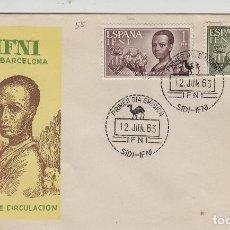 Sellos: IFNI , 1963 , AYUDA A BARCELONA , ED 198/99 - SOBRE PRIMER DIA S.F.C. .. Lote 152459158