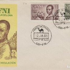 Sellos: IFNI , 1963 , AYUDA A BARCELONA , ED 198/99 - SOBRE PRIMER DIA S.F.C. .. Lote 152459178
