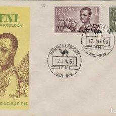 Sellos: IFNI , 1963 , AYUDA A BARCELONA , ED 198/99 - SOBRE PRIMER DIA S.F.C. .. Lote 152459222