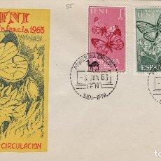 Sellos: IFNI , 1963 , PRO INFANCIA . ED 195/7 - SOBRE PRIMER DIA S.F.C. . MARIPOSAS . Lote 152459666