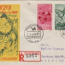 Sellos: IFNI , 1963 , PRO INFANCIA . ED 195/7 - SOBRE PRIMER DIA CIRCULADO S.F.C. . MARIPOSAS . Lote 152459794