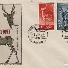 Sellos: IFNI , 1964 , ED 203/5 PRO INFANCIA - SOBRE PRIMER DIA S.F.C. FAUNA . Lote 152460354