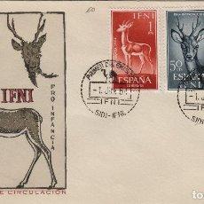 Sellos: IFNI , 1964 , ED 203/5 PRO INFANCIA - SOBRE PRIMER DIA S.F.C. FAUNA . Lote 152460390