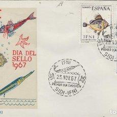 Sellos: IFNI , 1967 , ED 230/2 DÍA DEL SELLO . - SOBRE PRIMER DIA S.F.C. FAUNA , PECES . Lote 152461426