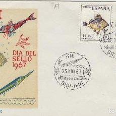 Sellos: IFNI , 1967 , ED 230/2 DÍA DEL SELLO . - SOBRE PRIMER DIA S.F.C. FAUNA , PECES . Lote 152461470