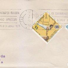 Sellos: DEPORTES BOXEO AMATEUR: XIX CAMPEONATOS DE EUROPA, MADRID 1971. RARO MATASELLOS DE RODILLO EN SOBRE.. Lote 152572246