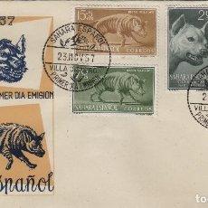 Selos: SAHARA . DIA DEL SELLO , 1957 , ED 142/5 - SOBRE PRIMER DIA CIRCULADO S.F.C.. Lote 152679654