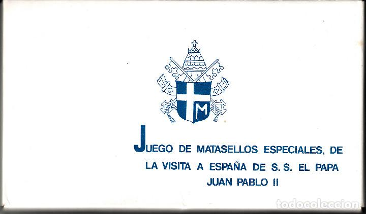 SOBRE ACTPHILA CON 27 MATASELLOS DISTINTOS DE LA VISITA A ESPAÑA DEL PAPA JUAN PABLO II (Sellos - Historia Postal - Sello Español - Sobres Primer Día y Matasellos Especiales)