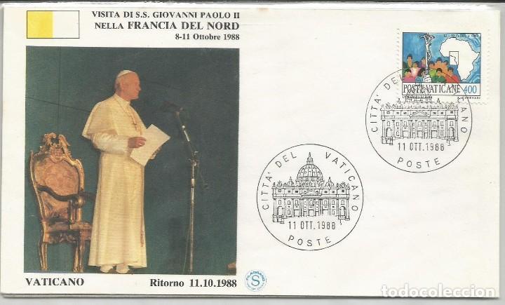 ITALIA - SOBRE - VISTA DEL PAPA PABLO II EN FRANCIA DEL NORTE 1988 (Sellos - Historia Postal - Sello Español - Sobres Primer Día y Matasellos Especiales)