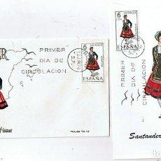 Sellos: SOBRE Y TARJETA PRIMER DIA DE CIRCULACIÓN (FIRST DAY OF ISSUE) TRAJES TIPICOS SANTANDER EDIFIL 1954. Lote 155750358