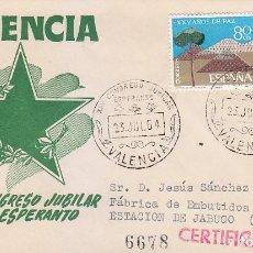 Sellos: ESPERANTO XXV CONGRESO JUBILAR, VALENCIA 1964 MATASELLOS EN SOBRE CIRCULADO DE MS. BONITO Y RARO ASI. Lote 155792202