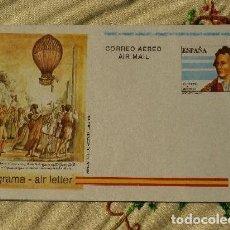 Sellos: ESPAÑA AEROGRAMAS 217 PRIMER DIA, II CENTº VUELO EXHIBICION EN GLOBO QUE REALIZO VICENTE LUNARDI. Lote 156036386