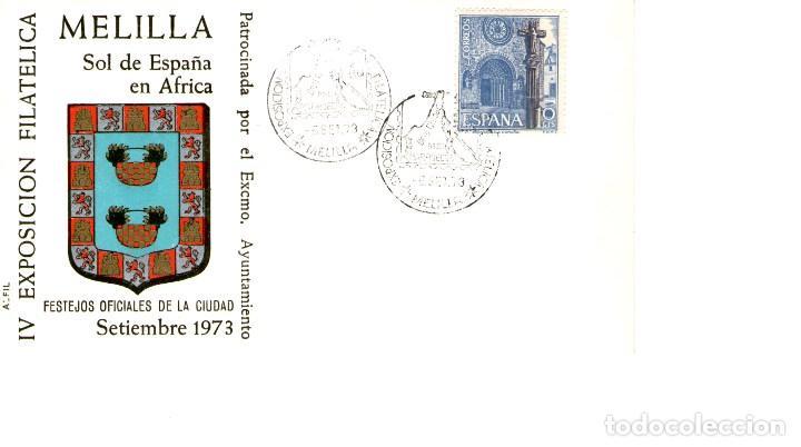 SOBRE IV EXPOSICION FILATELICA MELILLA 1973 (Sellos - Historia Postal - Sello Español - Sobres Primer Día y Matasellos Especiales)