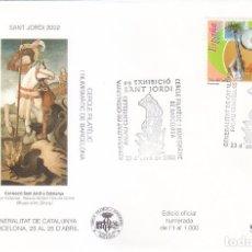 Sellos: RELIGION SAN JORGE SANT JORDI XXIX EXHIBICIÓ, BARCELONA 2002. MATASELLOS EN SOBRE EO. RARO ASI.. Lote 156109750