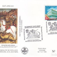 Sellos: RELIGION SAN JORGE SANT JORDI XXIX EXHIBICIÓ, BARCELONA 2001. MATASELLOS EN SOBRE EO. RARO ASI.. Lote 156116398