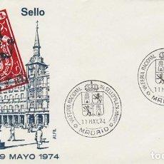 Sellos: AÑO 1974, MADRID, FERIA NACIONAL DEL SELLO PLAZA MAYOR, ESCUDO, EN SOBRE DE ALFIL. Lote 156543806