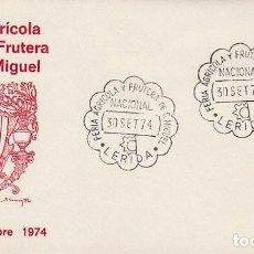 Sellos: AÑO 1974, LERIDA, FERIA AGRICOLA Y FRUTERA DE SAN MIGUEL, SOBRE DE ALFIL. Lote 156545418