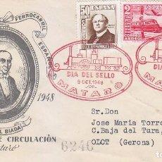 Sellos: TRENES DIA DEL SELLO, MATARO (BARCELONA) 1948. MATASELLOS FERROCARRIL SOBRE DEL SFC SERIE COMPLETA.. Lote 156611922