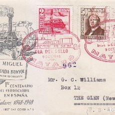 Sellos: TRENES DIA DEL SELLO, MATARO (BARCELONA) 1948. MATASELLOS FERROCARRIL SOBRE QUERALT SERIE COMPLETA.. Lote 156612466