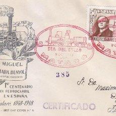 Sellos: TRENES DIA DEL SELLO, MATARO (BARCELONA) 1948. MATASELLOS FERROCARRIL EN SOBRE CIRCULADO DE QUERALT.. Lote 156612718