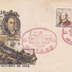 Sellos: TRENES DIA DEL SELLO, MATARO (BARCELONA) 1948. MATASELLOS FERROCARRIL EN SOBRE ILUSTRADO.. Lote 156613670