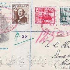 Sellos: TRENES DIA DEL SELLO, MATARO (BARCELONA) 1948 MATASELLOS FERROCARRIL SOBRE ET SERIE COMPLETA NORUEGA. Lote 156616530