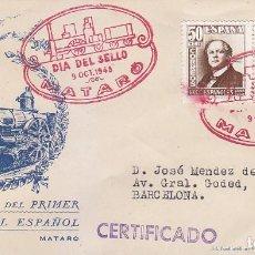 Sellos: TRENES DIA DEL SELLO, MATARO (BARCELONA) 1948. MATASELLOS FERROCARRIL EN SOBRE CIRCULADO DE DP. RARO. Lote 156617102