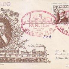 Sellos: TRENES DIA DEL SELLO, MATARO (BARCELONA) 1948. MATASELLOS FERROCARRIL EN SOBRE CIRCULADO DE ALFIL. . Lote 156620594