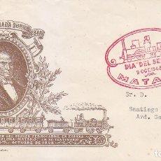 Sellos: TRENES DIA DEL SELLO, MATARO (BARCELONA) 1948. MATASELLOS FERROCARRIL EN SOBRE DE ALFIL CON VIÑETA. . Lote 156620654