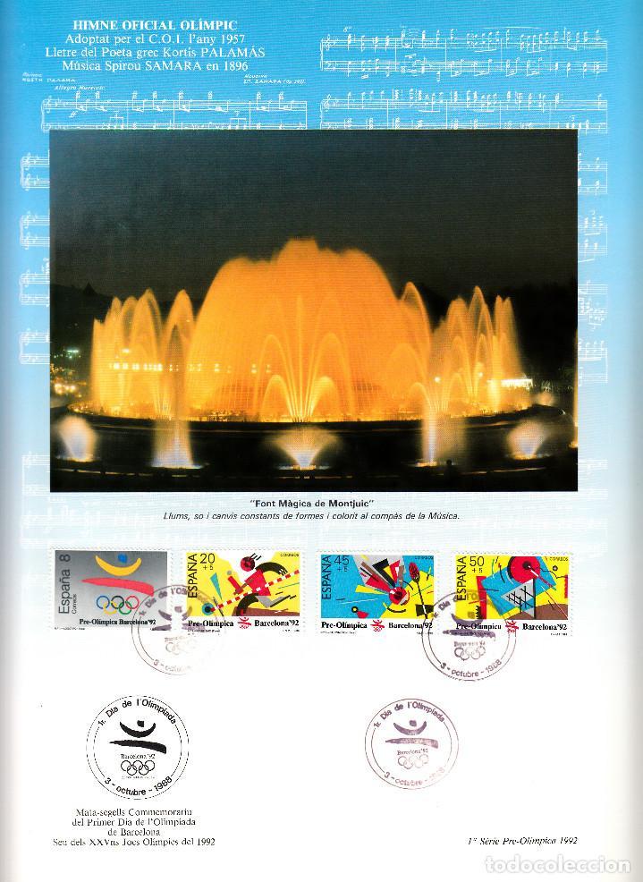 Sellos: DOCUMENTO FILATELICO BARCELONA 92 PRIMER DIA OLIMPIADA 3 OCTUBRE 1988 - SEIS PÁGINAS - Foto 2 - 156685494
